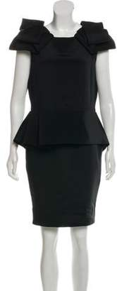 Marchesa Peplum Knee-Length Dress Black Peplum Knee-Length Dress