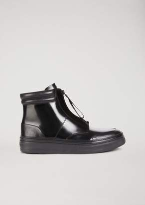 Emporio Armani Ankle Boot Sneakers In Abraded Nappa With Zip