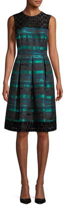 Carmen Marc Valvo Stripe And Lace Dress