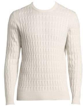 Eleventy Men's Cabled Cashmere Crewneck - Ivory - Size Small