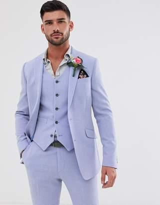 Hatch Asos Design ASOS DESIGN wedding skinny suit jacket in lilac cross