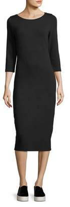 Neiman Marcus Majestic Paris for 3/4-Sleeve Slim French Terry Dress