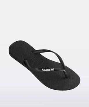 Havaianas Slim Rubber Logo Black White Thong