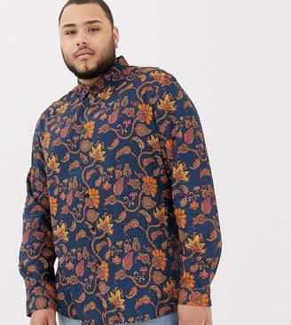 Asos DESIGN Plus regular fit navy paisley shirt