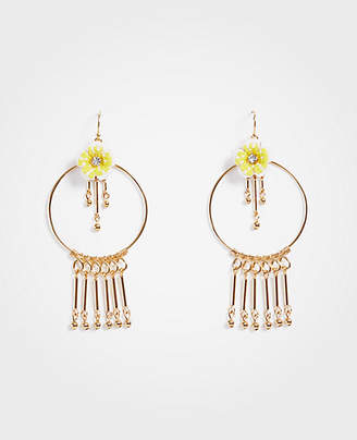 Ann Taylor Seed Bead Flower Circle Earrings