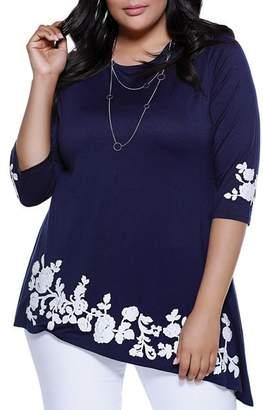 Belldini Plus Asymmetric Floral Appliqué Tunic