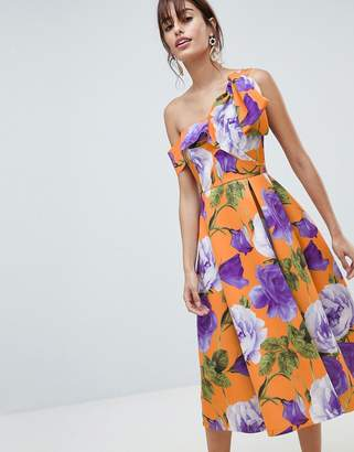Asos DESIGN scuba bow one shoulder prom dress in bright floral print