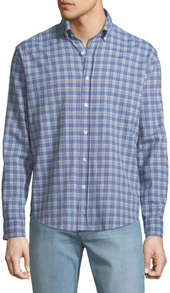Neiman Marcus Classic-Fit Wear-It-Out Plaid Seersucker Sport Shirt