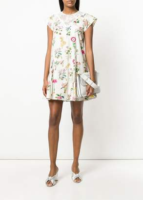 No.21 lace insert short sleeve shift dress in white floral print
