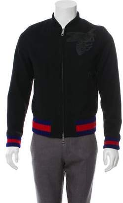 a16438c64 Gucci 2016 Embroidered Bee Web Wool Bomber Jacket