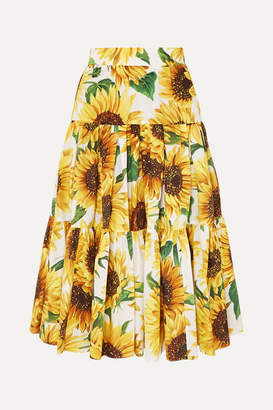Dolce & Gabbana Tiered Floral-print Cotton-poplin Skirt - Yellow