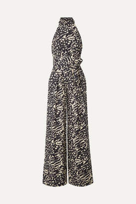 Rebecca Vallance Lola Belted Printed Crepe Halterneck Jumpsuit - Midnight blue