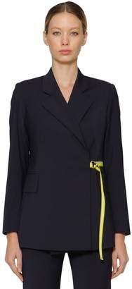 Aalto Tailored Wool Blend Blazer W/ Logo Belt