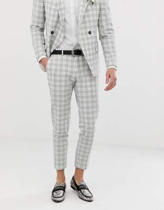 Twisted Tailor tapered crop suit trouser in grey seersucker check