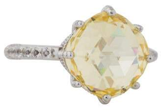 Judith Ripka Canary Crystal & White Topaz Flora Ring silver Canary Crystal & White Topaz Flora Ring