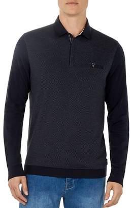 Ted Baker Friend Diamond-Textured Long-Sleeve Polo Shirt
