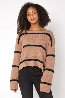 BB Dakota Fuzzy Stripe Cropped Pullover
