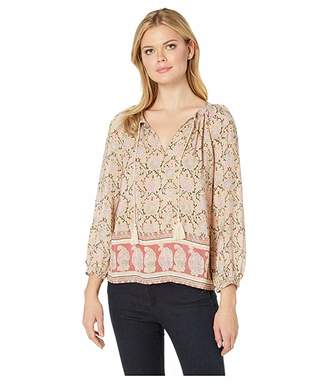 Lucky Brand Paisley Border Print Peasant Top