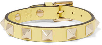 Valentino Garavani The Rockstud Leather And Gold-tone Bracelet - Pastel yellow