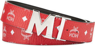 MCM Men's Claus Reversible Visetos Logo-Buckle Belt