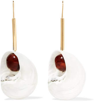Loewe Snails Gold-tone, Resin And Shell Earrings - White