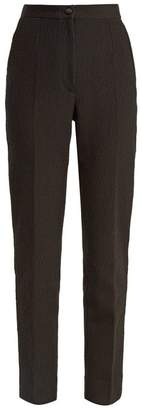 Dolce & Gabbana - High Rise Cotton Blend Cloqué Trousers - Womens - Black