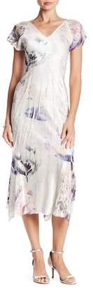Komarov Flutter Sleeve Floral Print Midi Dress