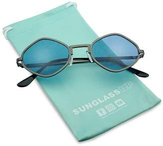 2dd490d61312d SunglassUP Full Metal Geometric Color Tinted Flat Lens Designer Inspired  Sun Glasses