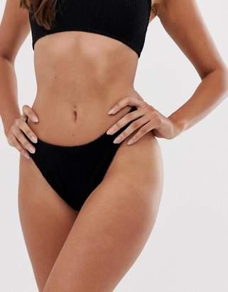 Asos Design DESIGN mix and match crinkle high leg hipster bikini bottom