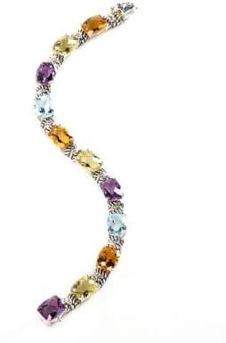 Fine Jewellery Sterling Silver 14K Yellow Gold Diamond And Multi-Coloured Gemstone Bracelet