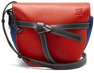 Loewe Gate Leather And Felt Cross Body Bag - Womens - Red Multi
