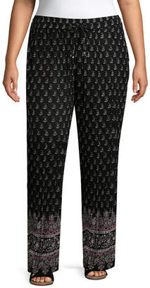 NEW DIRECTION Drawstring Woven Printed Pant-Plus