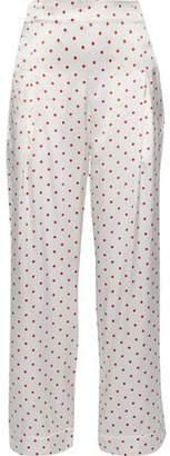 Ganni Polka-dot Silk-satin Straight-leg Pants