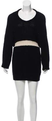 Balenciaga Faux-Hooded Cashmere Sweater Dress
