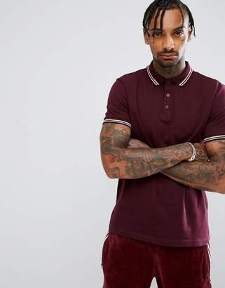 Asos DESIGN Tipping Collar and Cuff Pique Polo Shirt In Red