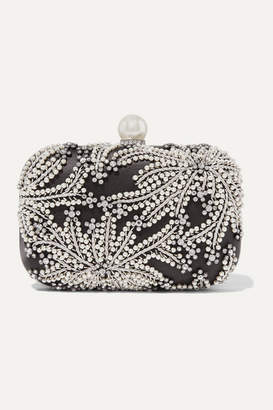 Jimmy Choo Cloud Embellished Satin Clutch - Black