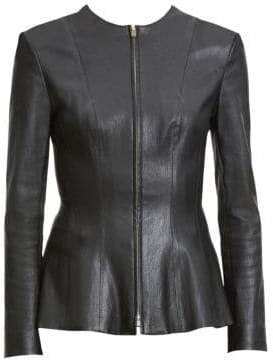 Theory Women's Bristol Leather Peplum Jacket - Black - Size 00