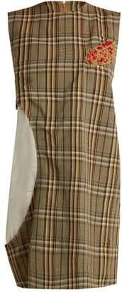 Toga Bead Embellished Cut Out Sleeveless Checked Dress - Womens - Brown Multi