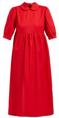 Comme des Garcons Peter Pan Collar Twill Midi Dress - Womens - Red