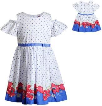 Dollie & Me Girls 4-14 Floral & Polka-Dot Dress & Matching Doll Dress