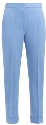 Stella McCartney Straight Leg Cropped Wool Trousers - Womens - Light Blue
