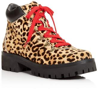 Aqua Knox Women's Round-Toe Leopard-Print Lace Up Booties - 100% Exclusive
