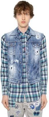 DSQUARED2 Distressed Cotton Denim Vest