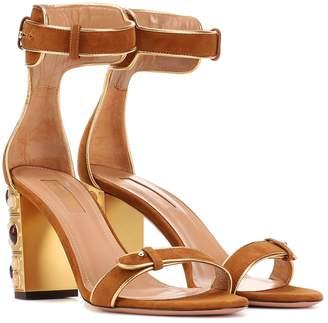 Aquazzura Lucky Star 85 suede sandals