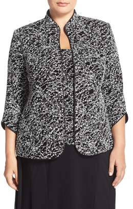 Alex Evenings Foiled Print Twinset (Plus Size)
