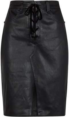Rag & Bone Lace-Up Leather Skirt