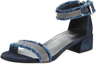 Stuart Weitzman Nudistchains Denim Ankle-Wrap Sandal