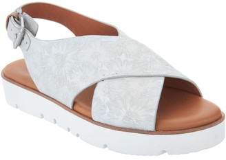 Kenneth Cole Gentle Souls By Gentle Souls Leather Cross Band Sandals - Kiki
