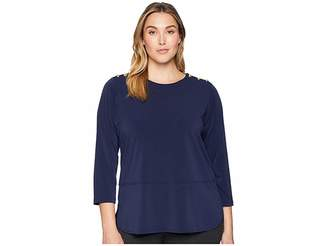 Lauren Ralph Lauren Plus Size Button-Trim Matte Jersey Top