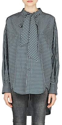 Balenciaga Women's Checked Cotton-Blend Poplin Blouse - Green